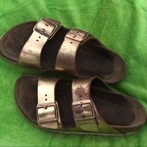 USED Birkenstock metallic gold Arizona sandal